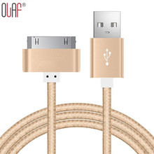 Free Shipping Newly 30 Pin Braided Nylon Sync Data Charging Cable For iPad 2 3 Metal plug USB Charger Cable For iPhone 4 4s