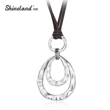 Shineland 2 layer Retro Long Necklace Women New Trendy Fashion Jewelry Artificial Leather Rope Double Circles Necklace & Pendant(China)