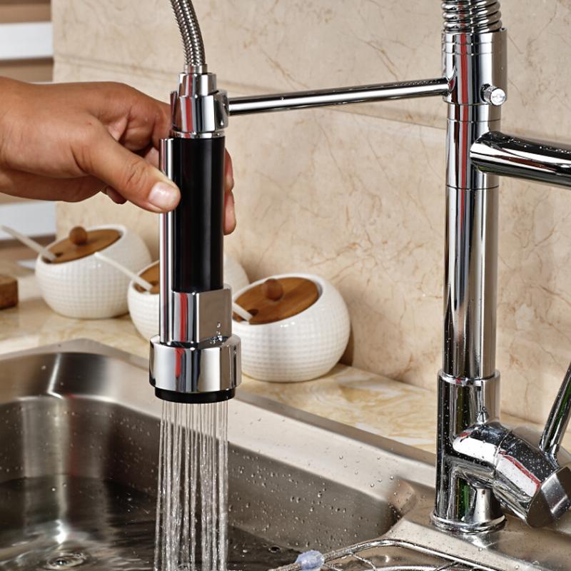 Deck-Mount-Single-Lever-Kitchen-Mixer-Faucet-One-Hole-Spring-Swivel-Spout-Mixer-Tap-Chrome-Finish