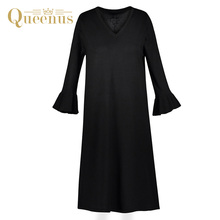 Queenus 2017 Women Autumn Winter Dress V Neck Long Sleeve Falbala Lady Day Dress Elegant Loose Casual Dress Black Women Dresses(China)