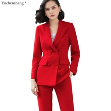 2019 New office work blazer suits of high quality OL women pants suit blazers jackets with trouser two pieces set red pink blue(China)