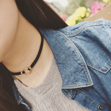 Free shipping! Fashion black collar neck chain sexy round clavicle wild temperament choker necklace Cowboy accessories jewlery(China)
