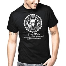 NSA National Security Agency USA Edward Snowden Fun T-Shirt Cotton casual tee shirt free shipping(China)