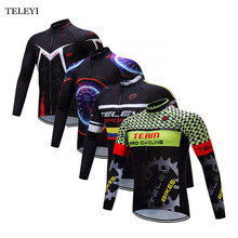 TELEYI Team Long Sleeve Ropa Ciclismo Cycling Jersey Bike Tops Bicycle Mountain Outdoor Jacket Size S-4XL