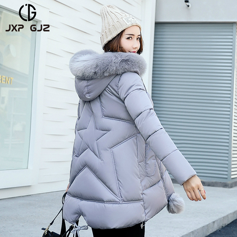 JXP GJZ 2017 Winter Women Jacket Coat Parka Black Zipper Full Sleeve Thick Hooded Parkas Regular Plus Size Parkas Femme XXXLÎäåæäà è àêñåññóàðû<br><br>