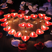50PCS Romantic Love Wedding Party Heart Shaped Scented Candles Home Decor Smokeless Sweet tealights candles Christmas Xmas decor(China)