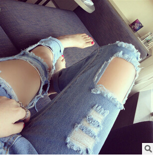Drawing hole burrs pencil pants ripped jeans fashion leisure big yards haroun pants Denim trousers beggar hole pants pantsОдежда и ак�е��уары<br><br><br>Aliexpress