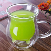 New Arrival Novelty High Borosilicate Glass Cow Udder Shaped Double-walled Milk Cream fruit juice Coffee Mug Cup Clear Home