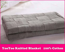 Knitted Throw Blanket/ 100% Cotton Knitted Throw Super Soft Warm Cover Blanket Checkered Knit , 43*70in 110*180cm