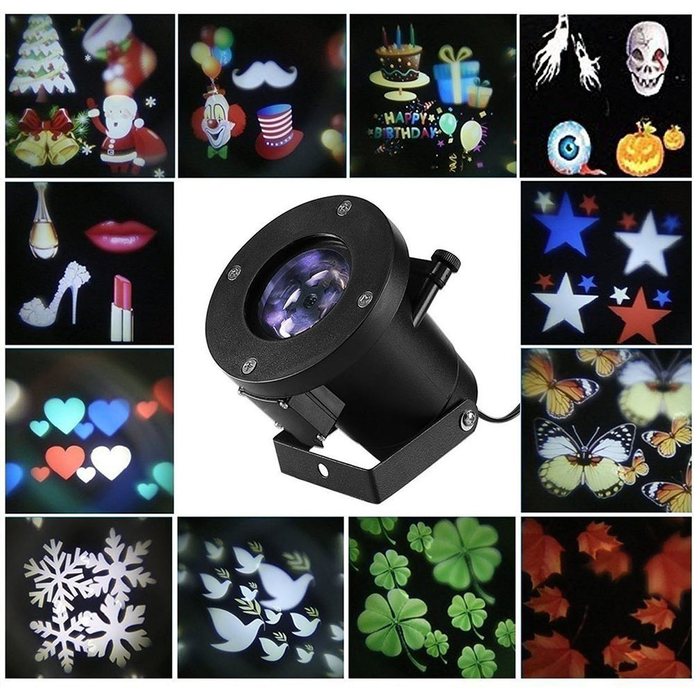 12 Patterns Christmas Laser Snowflake Projector Outdoor LED Waterproof DJ Disco Lights Home Garden Star Light Indoor Decoration<br>