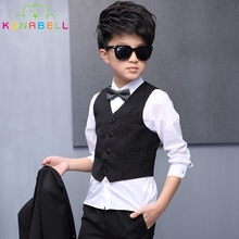 Children Formal Suit Jackets Tuxedo Vest Pants Shirt Bow 5Pcs Boys Suit Kids Weddings Dress Clothes Set Blazers Prince Suit F2