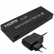 4K*2K 1080P 3D 2x4 Matrix HDMI Video Switch Splitter Amplifier 1.4a Full HD w/ Remote