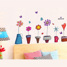 Flower Pot Wall Sticker For Girl Kids Bedroom Stairs Children's Furniture Decoration Wall Decal Sticker