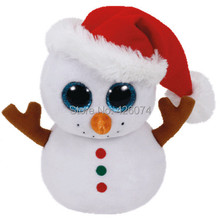 New Beanie Big Eyes Stuffed Animals Scoop White Snowman Kids Plush Toys For Children Christmas Gifts 15CM(China)