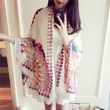2016 Spring Summer Scarves Ms. Peacock Retro National Wind Cotton Beach Air Conditioning Sunscreen Large Scarf Cape Beach Towels