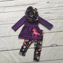 Fall/winter 3 pieces scarf purple top baby girls kids OUTFITS Unicorn print pant  new design hot sell boutique clothes kids sets