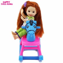 Plastic Hobbyhorse Shaking Horse Dollhouse Furniture Accessories For Barbie Sister Baby Kelly Size Doll Kids Toy Play House Gift
