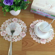 NEW Satin table place mat pad cloth embroidery cup holder round wine coaster placemat mug glass trivet doilies drink kitchen(China)