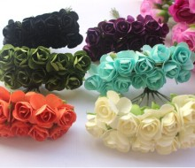 Promotion 1.5cm head Multicolor Mulberry Paper Flower Bouquet/wire stem/ Scrapbooking artificial rose flowers(144pcs/lot)