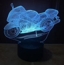 Cool Motorcycle Shape 3D Illusion LED Night Light Dimming Table Lamp For Children Kids Bedroom Lamp  Holiday Lighting