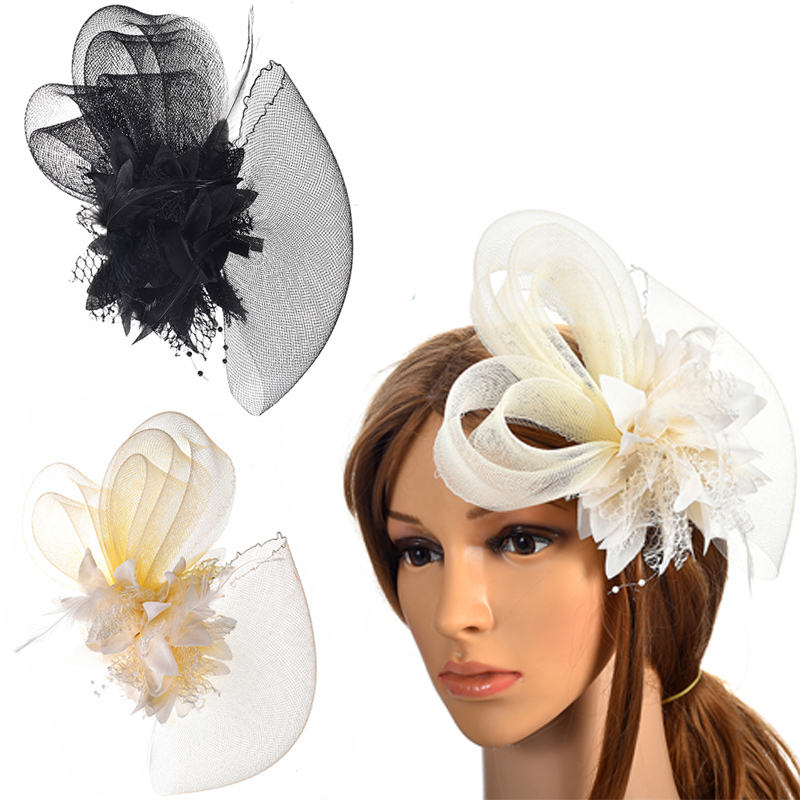 Wedding Festival Party Satin Small Hat Feather Fascinator Hair Clip for Women Blue