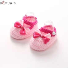 ROMIRUS Modern Baby Girl Shoes Soft Crochet Handmade Knit Shoes Infantil Moccasins Toddler Newborn Infant Crib H26