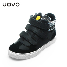UOVO autumn children shoes boys and girls sport shoes 3 hook and loop kids shoes high quality fashion sneakers for kids(China)
