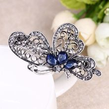 1PC 2017 Fashion Luxury Women Girls Crystal Blue Butterfly Hair Clip Hairpin Barrettes Hair Accessories Jewelry Gift Hot(China)