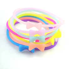 10pcs /Lot Sweet Candy Silicone Bowknot Bow Hair Rope Elastic Hair Bands For Women Girl Hair Rubber Bands Hair Accessories