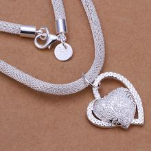 Free shipping wholesale N270 Top quality 925 sterling silver heart pendant necklace valentine gift for women