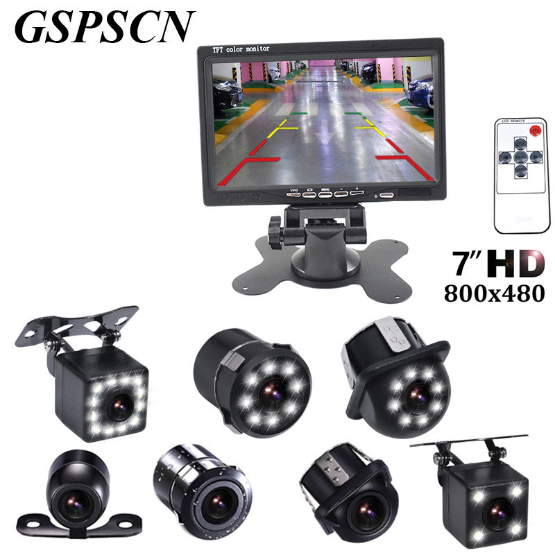 GSPSCN 7 Inch Monitor LCD Color HD TFT Screen Car Auto Parking Rear View Monitor + LED Night Vision Rearview Reversing Camera<br>