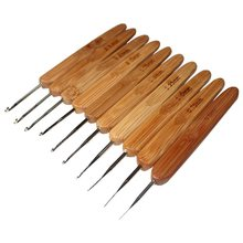 New 10pcs 0.5mm - 2.75mm Bamboo Handle Metal Crochet Hooks Knitting Needles Sewing Tools(China)