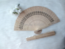 Chinese Oriental Folding Wooden Flower Hollow Carved Hand Fan in box Party Gift