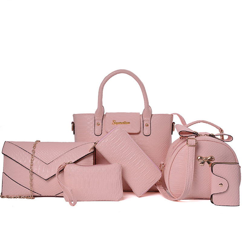 Luxury Women Bag 6 Piece Set Alligator Panelled Serpentine Python Brand 2017 Women Tote Lady Handbag Bags New Color<br>