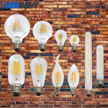 KARWEN Vintage LED Filament Bulb E27 E14 220V Real watt 2W 4W 6W 8W Antique Vintage LED Edison Bulb Retro Candle Light(China)