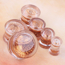 gold Powerful  glitters ear plug gauges transparent acrylic flesh tunnel liquid plugs body piercing jewelry wholesales