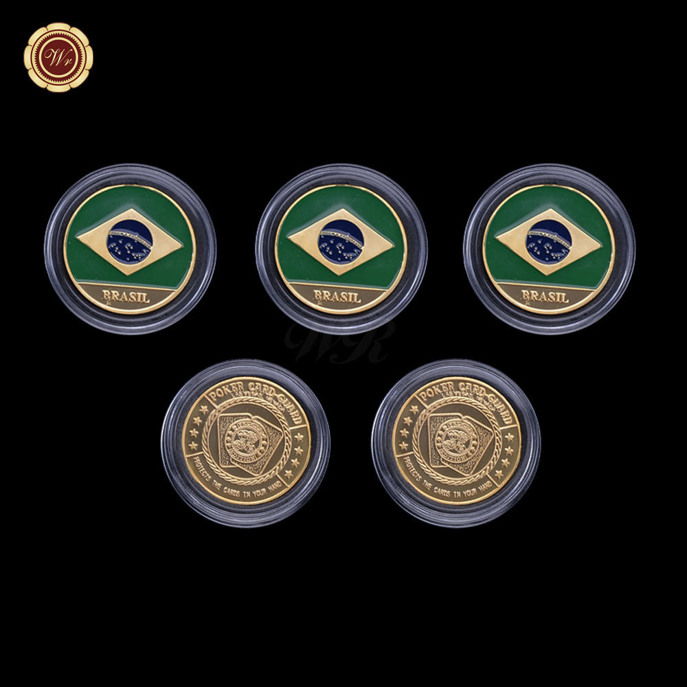 Wr 5pcs Commemorative Edition Colored Brazil Flag Card Guard Poker Chip Coin Rare Gold Foil Souvenir Gift Coin /w Case 40x3mm(China (Mainland))