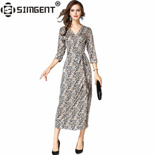 Buy Simgent New Fashion Women Autumn Elegant V-Neck Office Lady Party Long Wrap Leopard Dress Women Clothing Robe Gainante SG79201 for $17.87 in AliExpress store