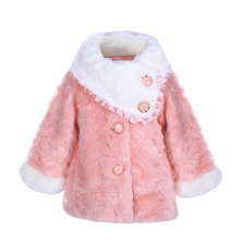 Pettigirl 4-5Y Girls Pink Faux Fur Coats Long Sleeve Little Girls Cotton Jacket Autumn Winter Kids Outwear Child Clothes A48(China)