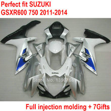 Injection Bodywork fairing kit for Suzuki GSXR600 GSXR750 11 12 13 14 white silver fairings set GSXR 600 750 2011 2012 2013 2014