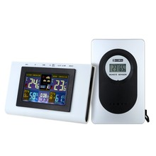 Wireless Weather Station Clock ,Colorful Display Thermometer Hygrometer Alarm, snooze, calendar, weather moon phase display(China)