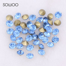 1440pcs/lot 2-6mm sizes Round crystal Fancy stone Pointed back glass light Aqumarine color stone For Choice Jewelry Making