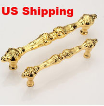 US Shipping 2pcs 96mm golden color zinc alloy antique drawer pulls furniture handles(China)