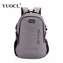 YUOCL New 2017 Men Male Canvas College Student School Backpack Casual Rucksacks Laptop Travel Bag Backpacks Women Mochila Gray