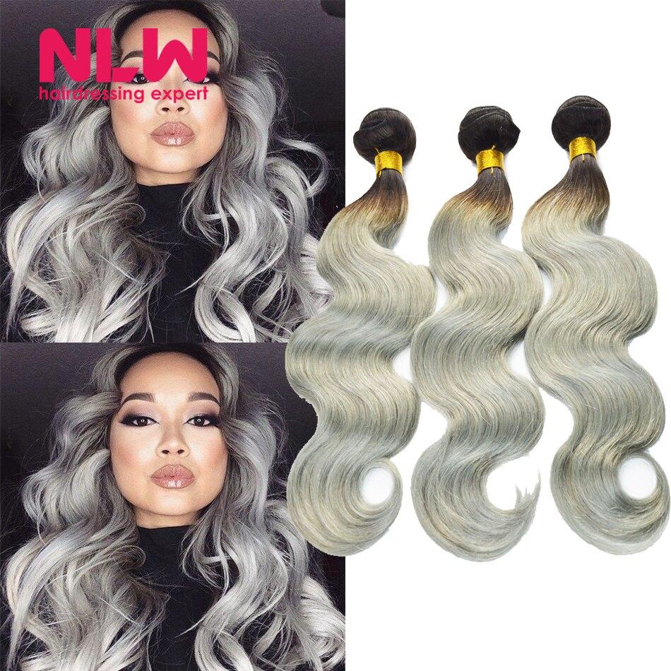 Human Virgin Hair Ombre Brazilian Body Wave 4 Bundles for Black Women Sew In Weft 8A Top Grade 1B Grey Hair Weave Extension Full<br><br>Aliexpress