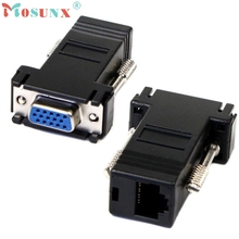 New VGA Extender Female To Lan Cat5 Cat5e RJ45 Ethernet Female Adapter 0.83(China)