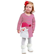 2017 Christmas Dress for Girls Red Striped Autumn Dresses Santa Claus Dresses Cotton Costumes for Children SQ338