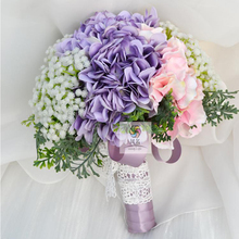 Handmade simulation flower bouquet wedding bride bridesmaid powder purple hydrangea full of stars pastoral hand holding flowers(China)