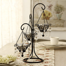 Moroccan Candlestick Crystal Metal Candlestick Wedding Centerpiece Candle Stand European Vintage Iron Candle Holder Home Decos