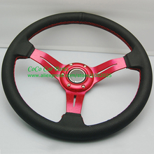 Red Arm Leather Car Steering Wheel 350mm Drifting Steering Wheel Leather With Hole Auto Steering Wheel Universal(China)